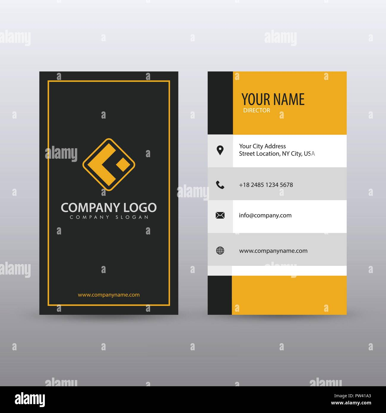 Modern Creative vertical Clean Business Card Template with yellow ...