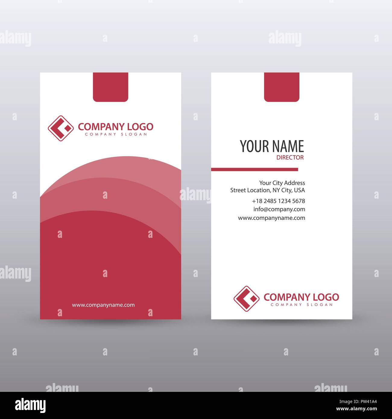 Modern Creative Vertical Clean Business Card Template With Red Color