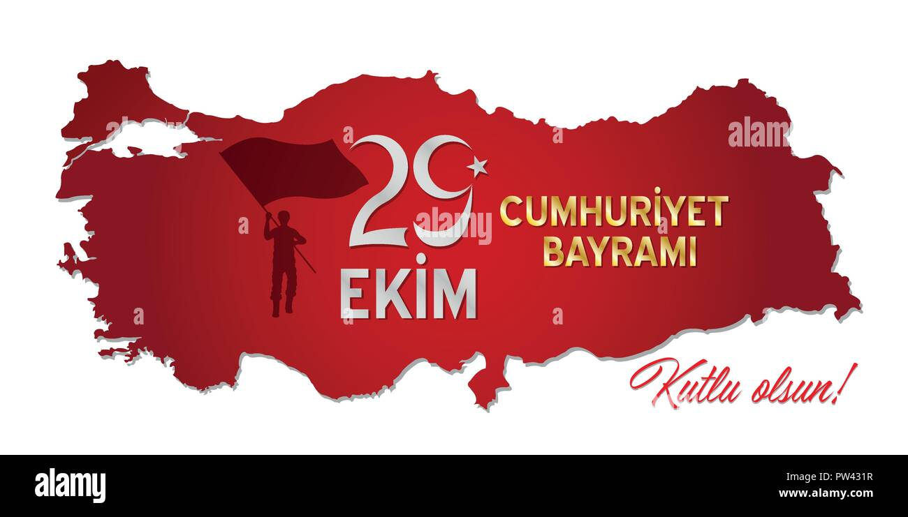 Republic of Turkey celebration message over a country map. All the objects are in different layers and the text types do not need any font. Stock Vector