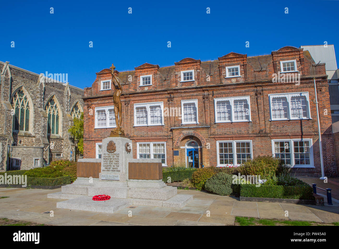 Dover Town Council offices and war memorial, Maison Dieu House - Stock Image