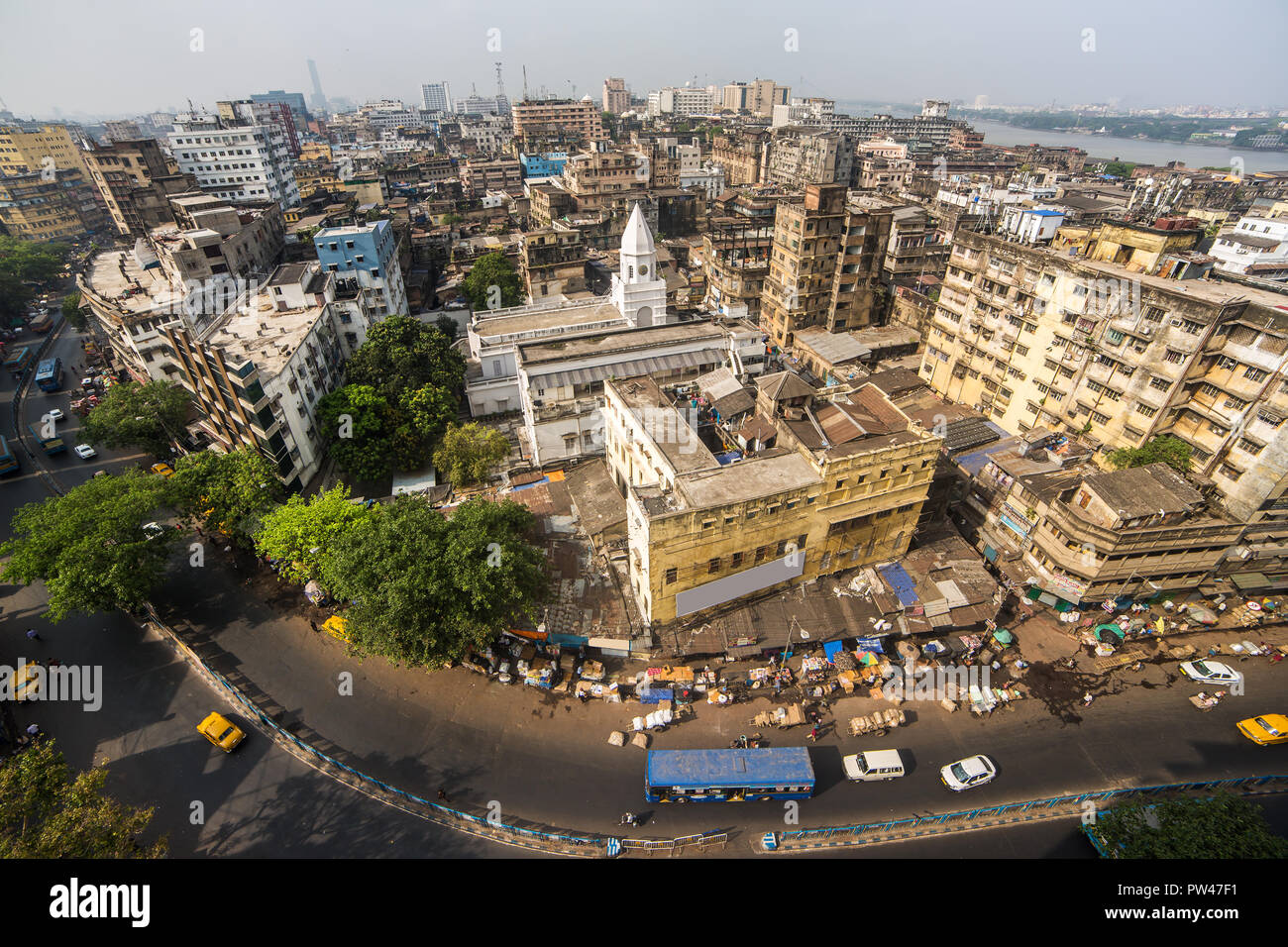 Kolkata city traffic on the crowded street in downtown, West Bengal, India. Top view - Stock Image