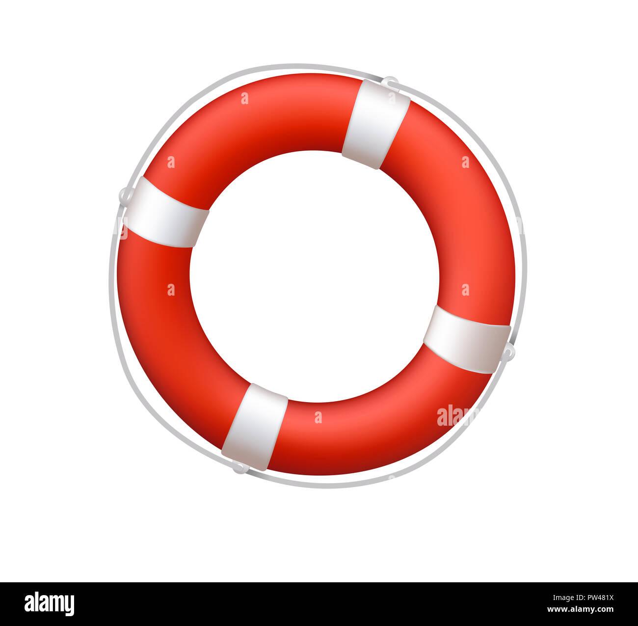 c98b2d46e61e life belt buoy float lifesaver rescue nautical illustration - Stock Image