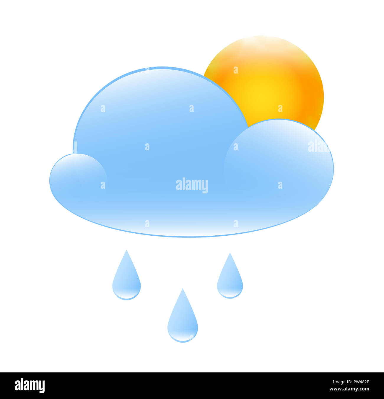 partly cloudy with sun and rain weather illustration - Stock Image