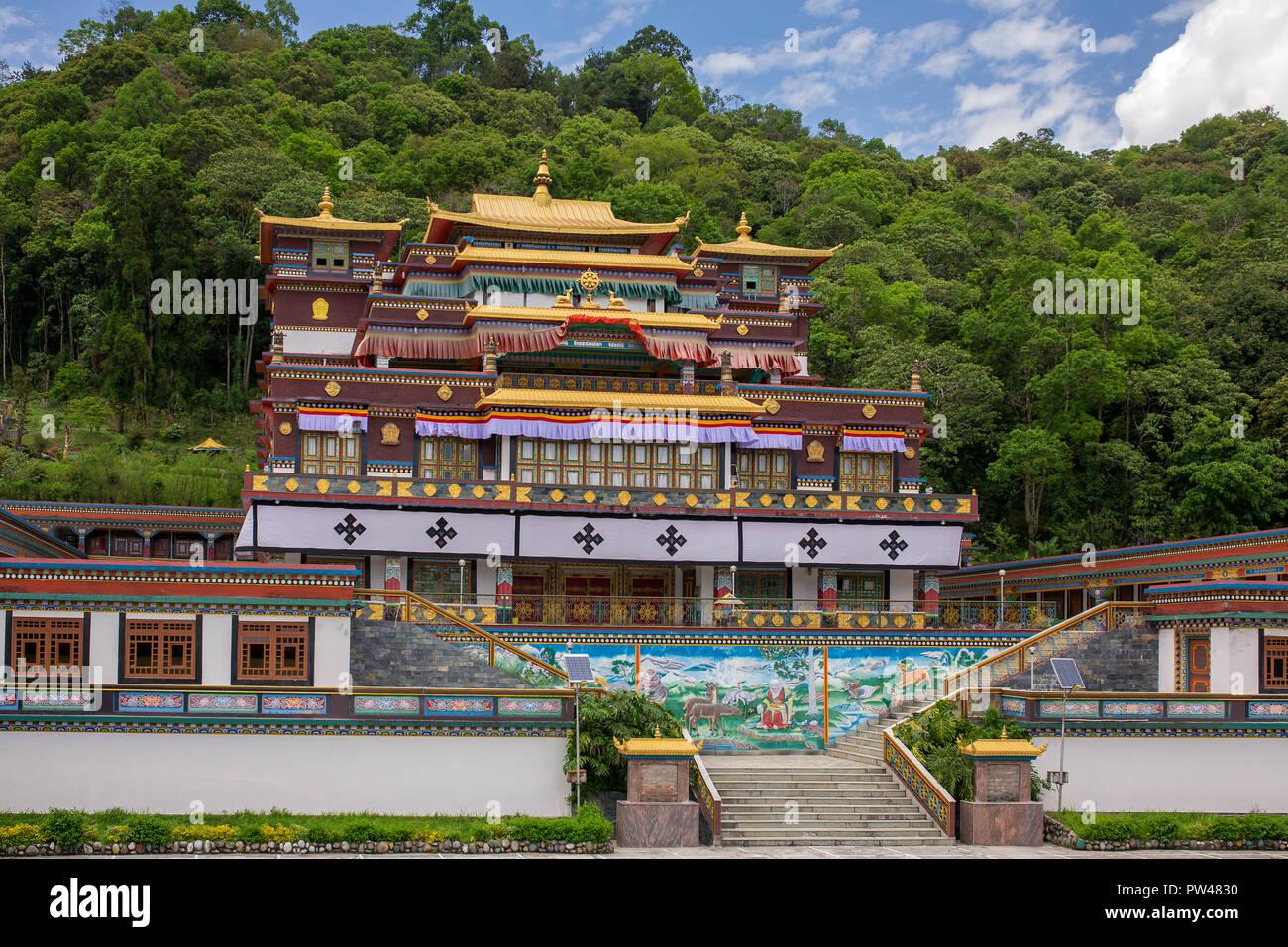 Ranka (Lingdum or Pal Zurmang Kagyud) Monastery in Gangtok. - Stock Image