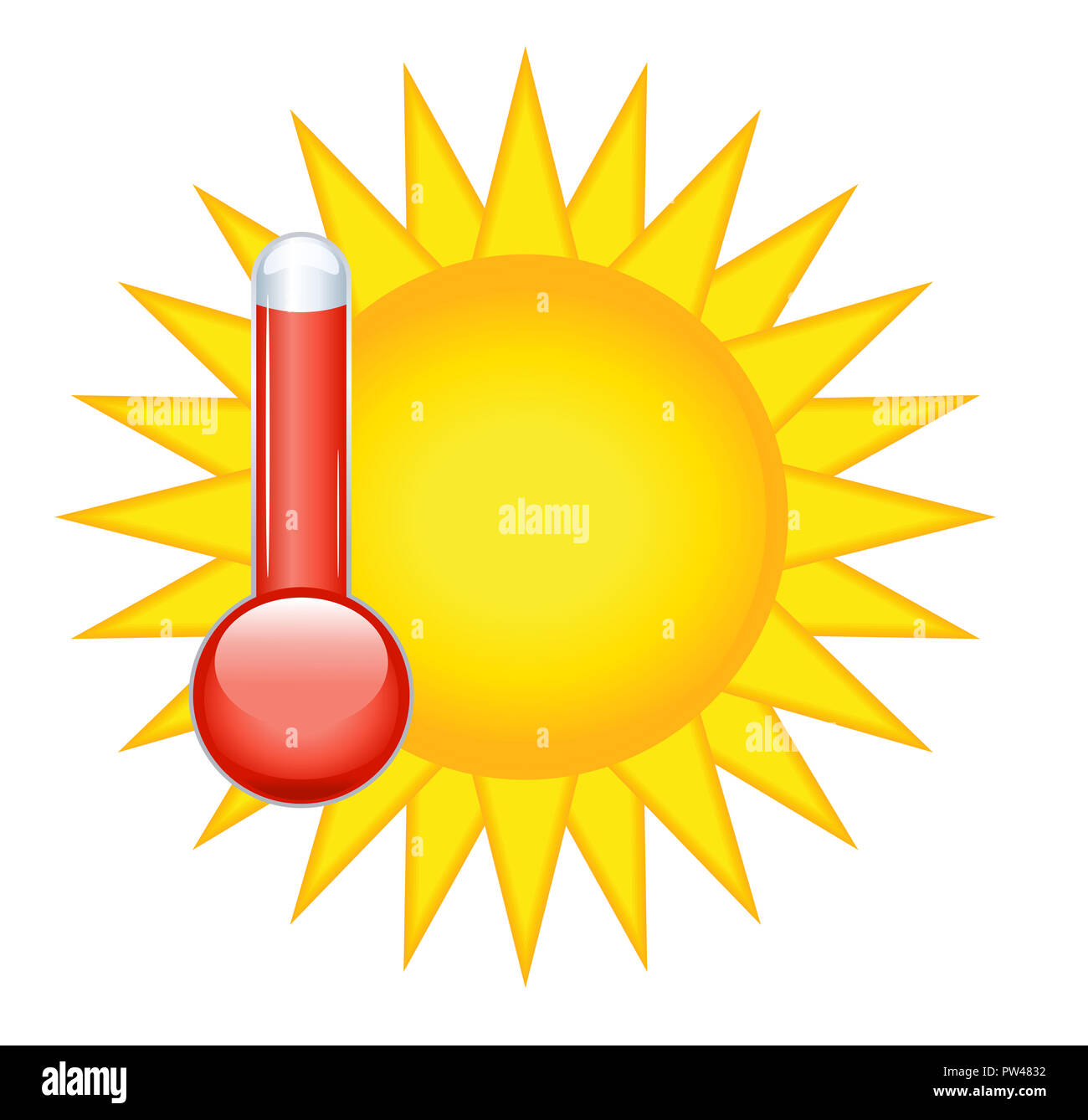 sunny weather climate summer temperature thermometer hot high illustration - Stock Image