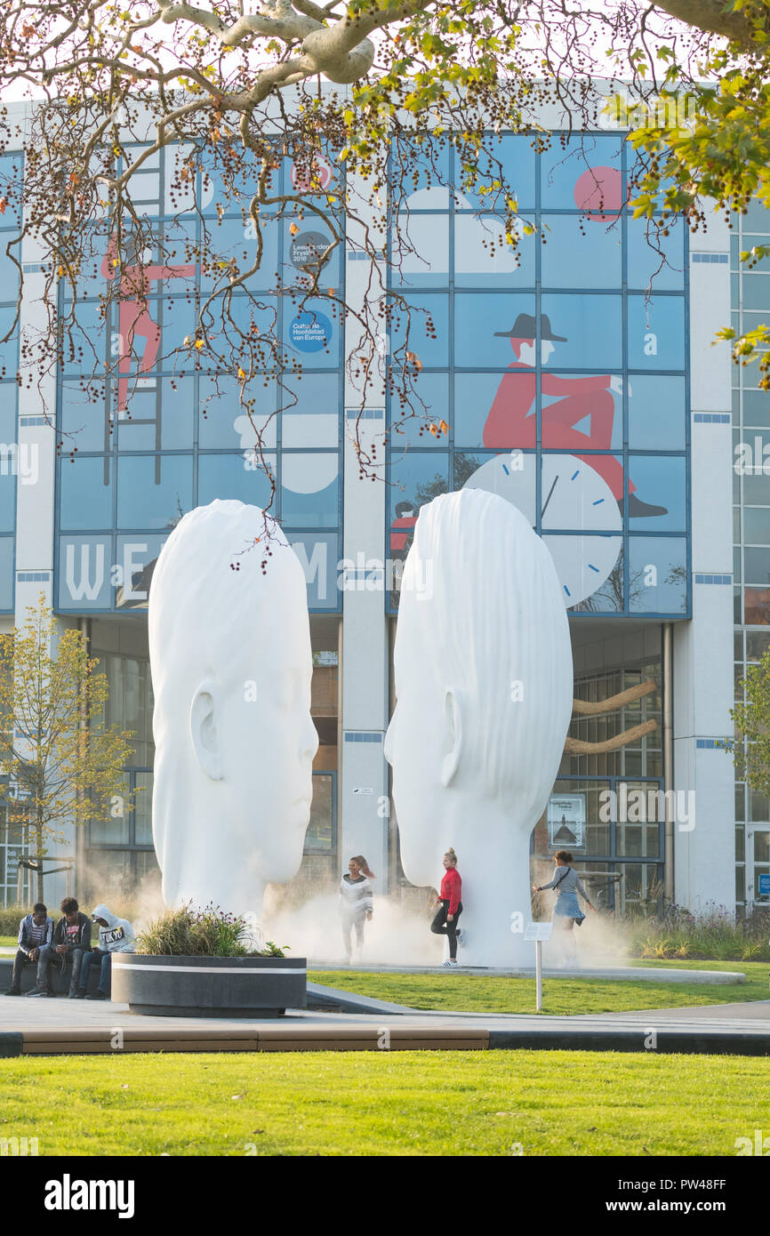 LOVE by Jaume Plensa,  mist fountain in Leeuwarden, Friesland, Netherlands - 1 of the 11 fountains for European Capital of Culture 2018 Stock Photo