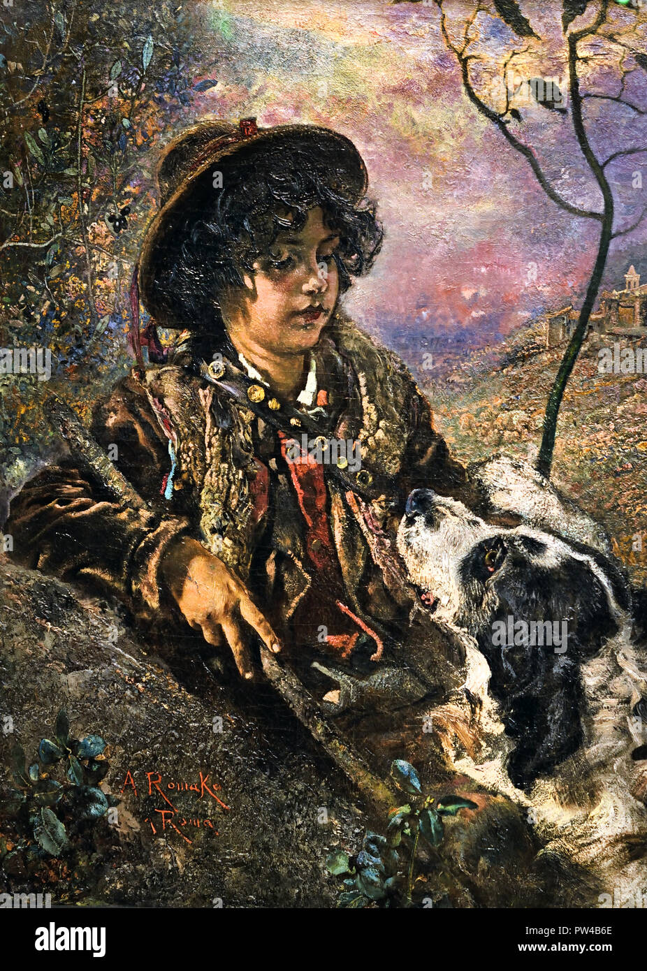 Young Italian Shepherd with Dog 1884/85 by Anton Romako 1832 – 1889  Austrian painter. Austria . ( Anton Romako was one of the great pioneers of Modernism ) - Stock Image