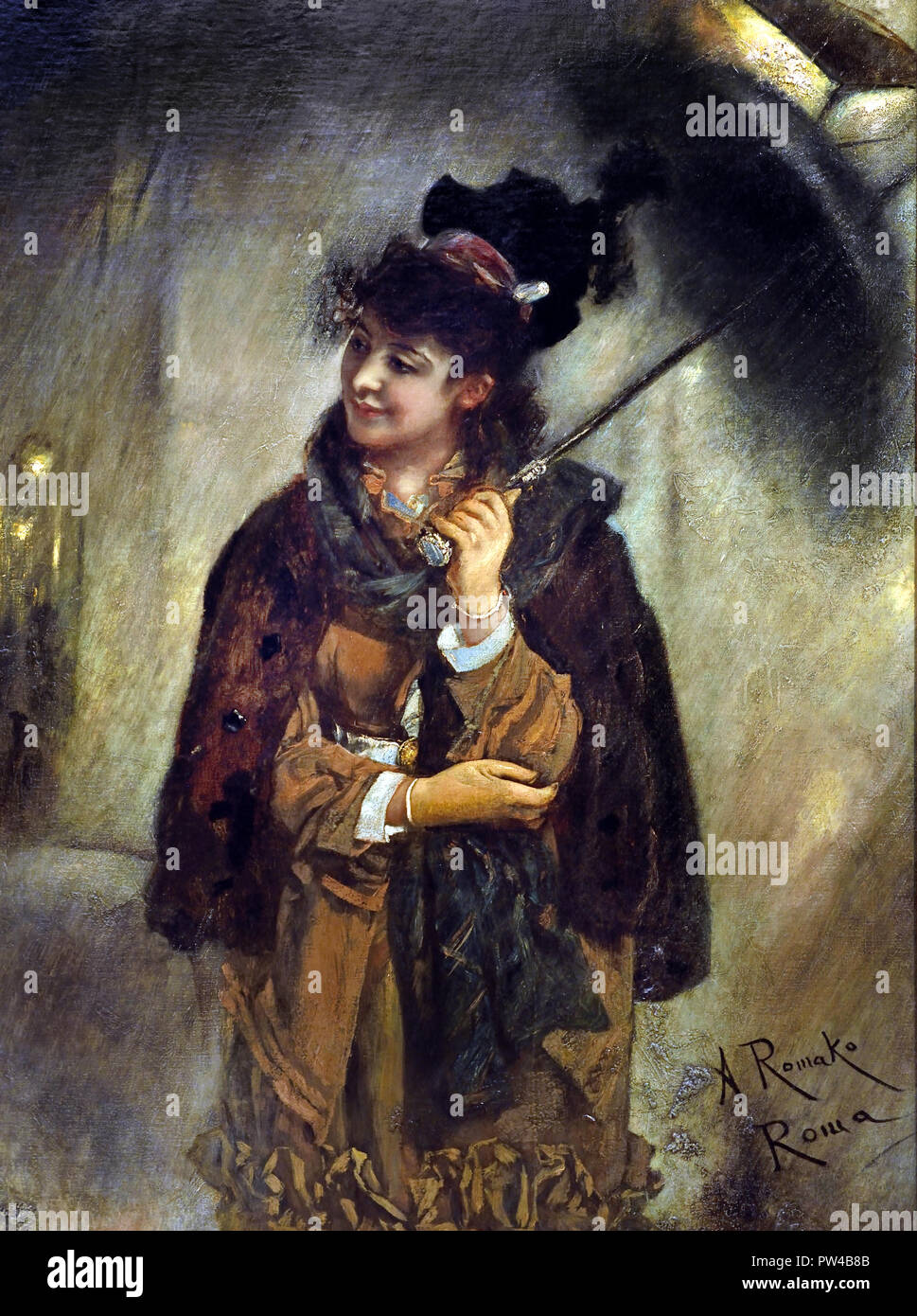 Young Roman Girl in the Rain (Evening on the Via Veneto) by Anton Romako 1832 – 1889  Austrian painter. Austria . ( Anton Romako was one of the great pioneers of Modernism ) - Stock Image
