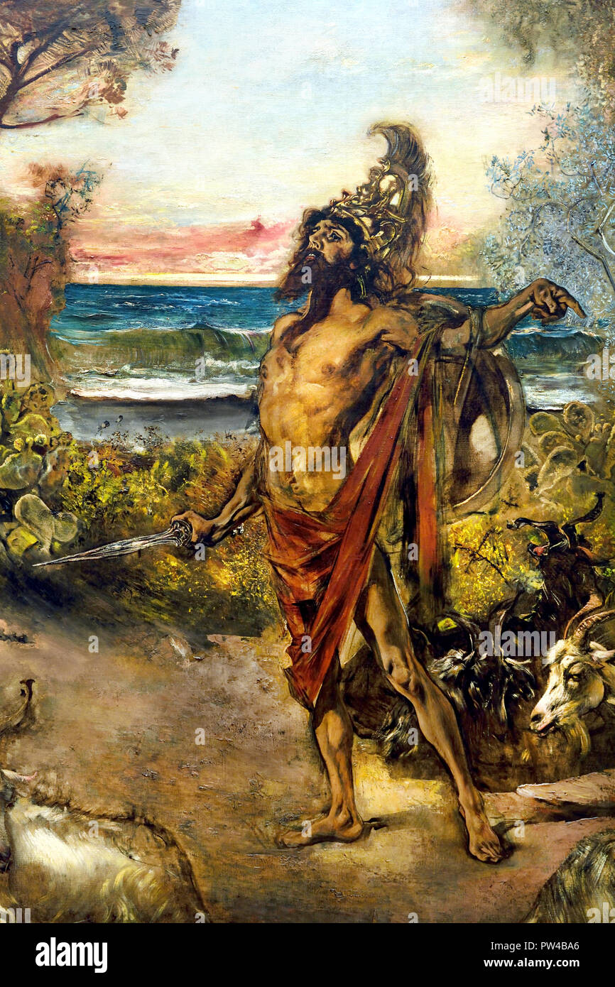 ODYSSEUS IN FRONT OF CIRCE, 1884/85 by Anton Romako 1832 – 1889  Austrian painter. Austria . ( Anton Romako was one of the great pioneers of Modernism ) - Stock Image