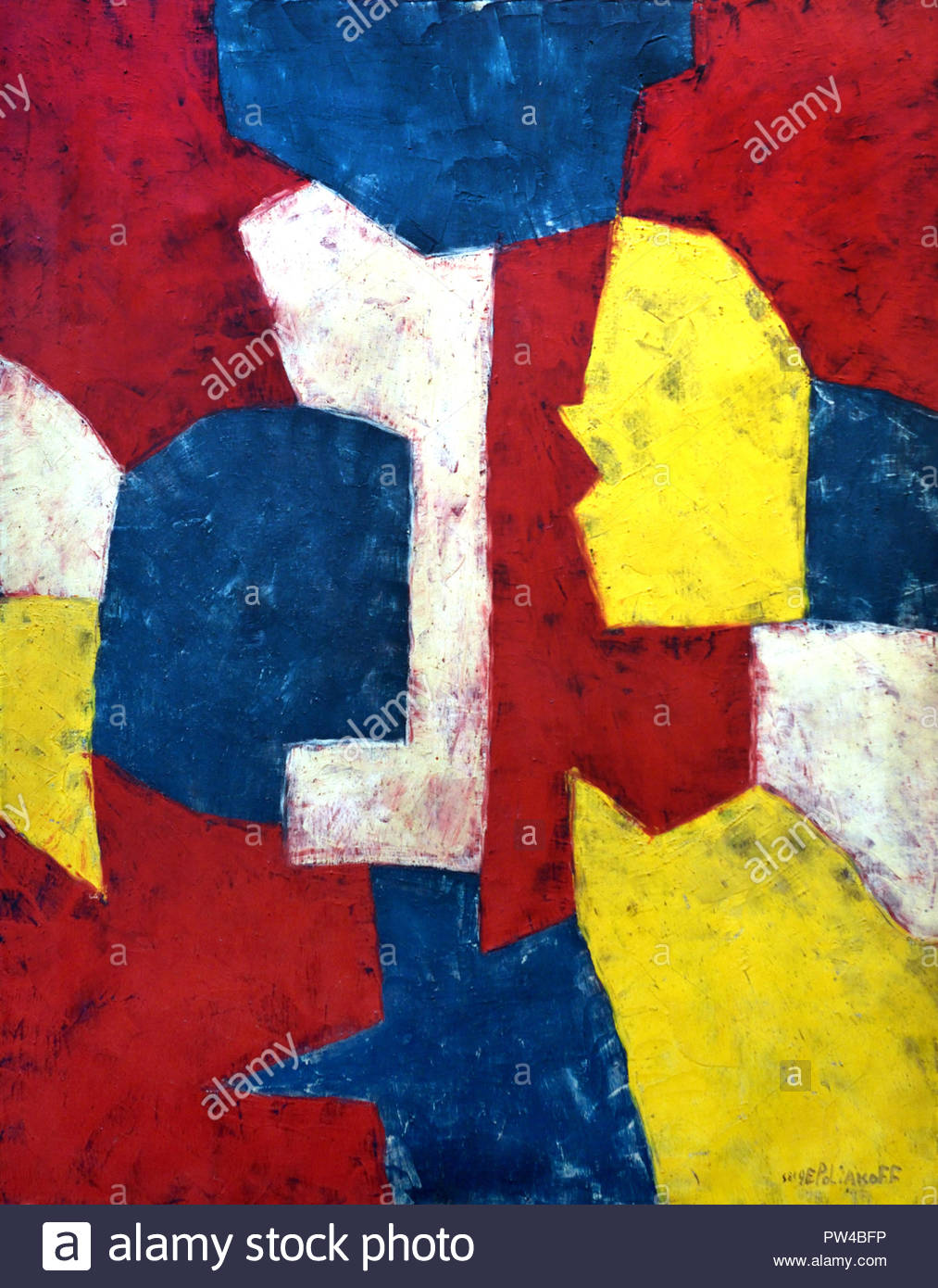 Composition Rouge, Jaune ,Verte et Blanche, 1953 by Serge Poliakoff 1900-1969 Russian Russia - Stock Image