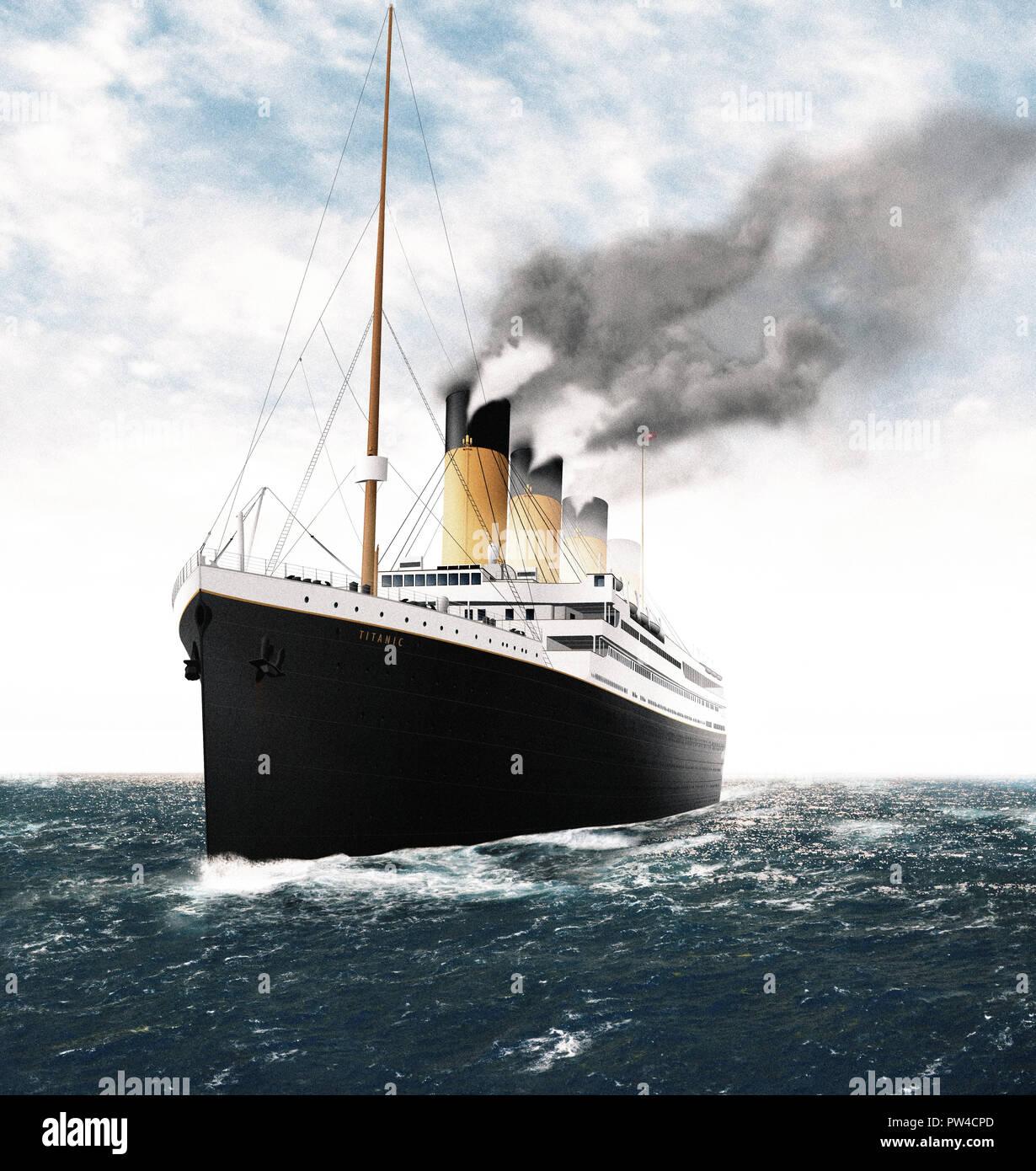 Titanic Sinking Illustration Stock Photos & Titanic