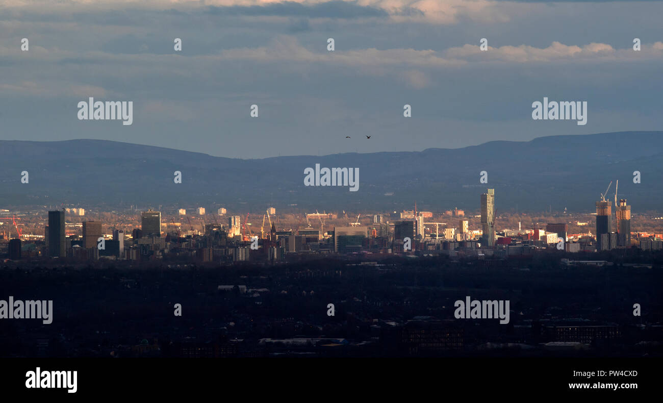 General view of the Manchester Skyline showing the CIS building, the Andale Centre, Manchester Town Hall, Beetham Tower - Stock Image