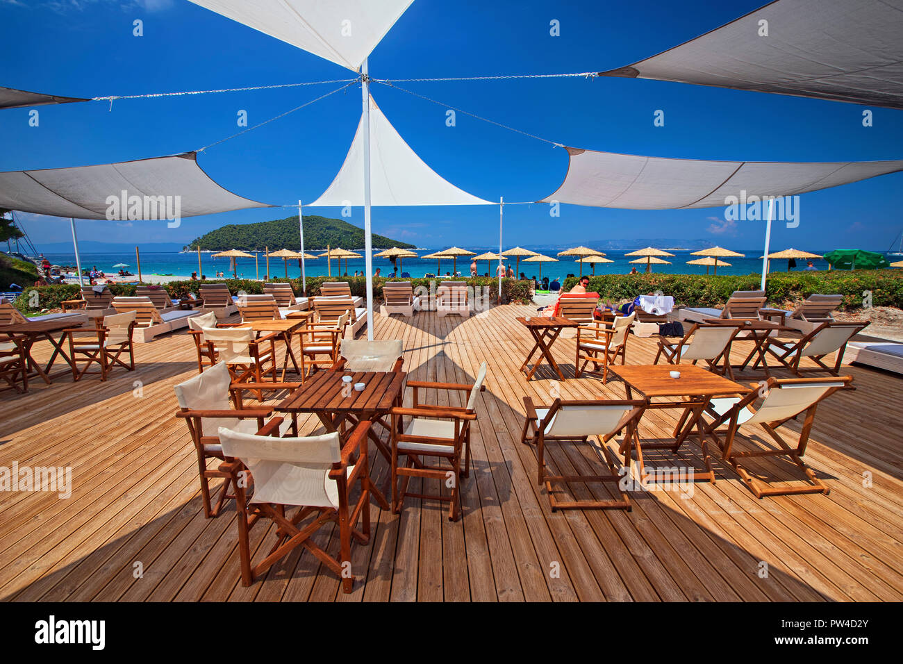 Greek Bar Stock Photos Images Alamy Bagus Umbrella Medium Light Blue Beach At Kastani Skopelos Island Northern Sporades Magnessia Thessaly