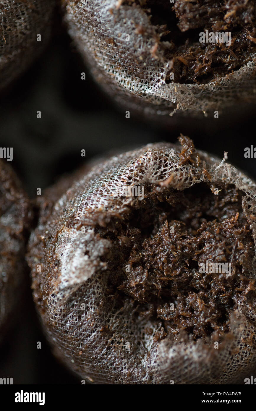 Close-up of organic fertilizers in bags - Stock Image