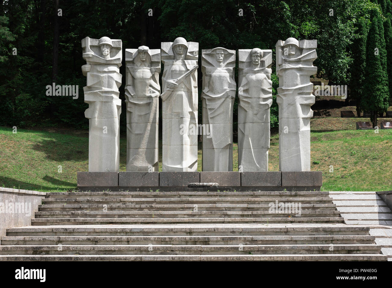 Vilnius cemetery, view of the monument in Antakalnis Cemetery to Red Army soldiers who died in World War Two, Vilnius, Lithuania. Stock Photo