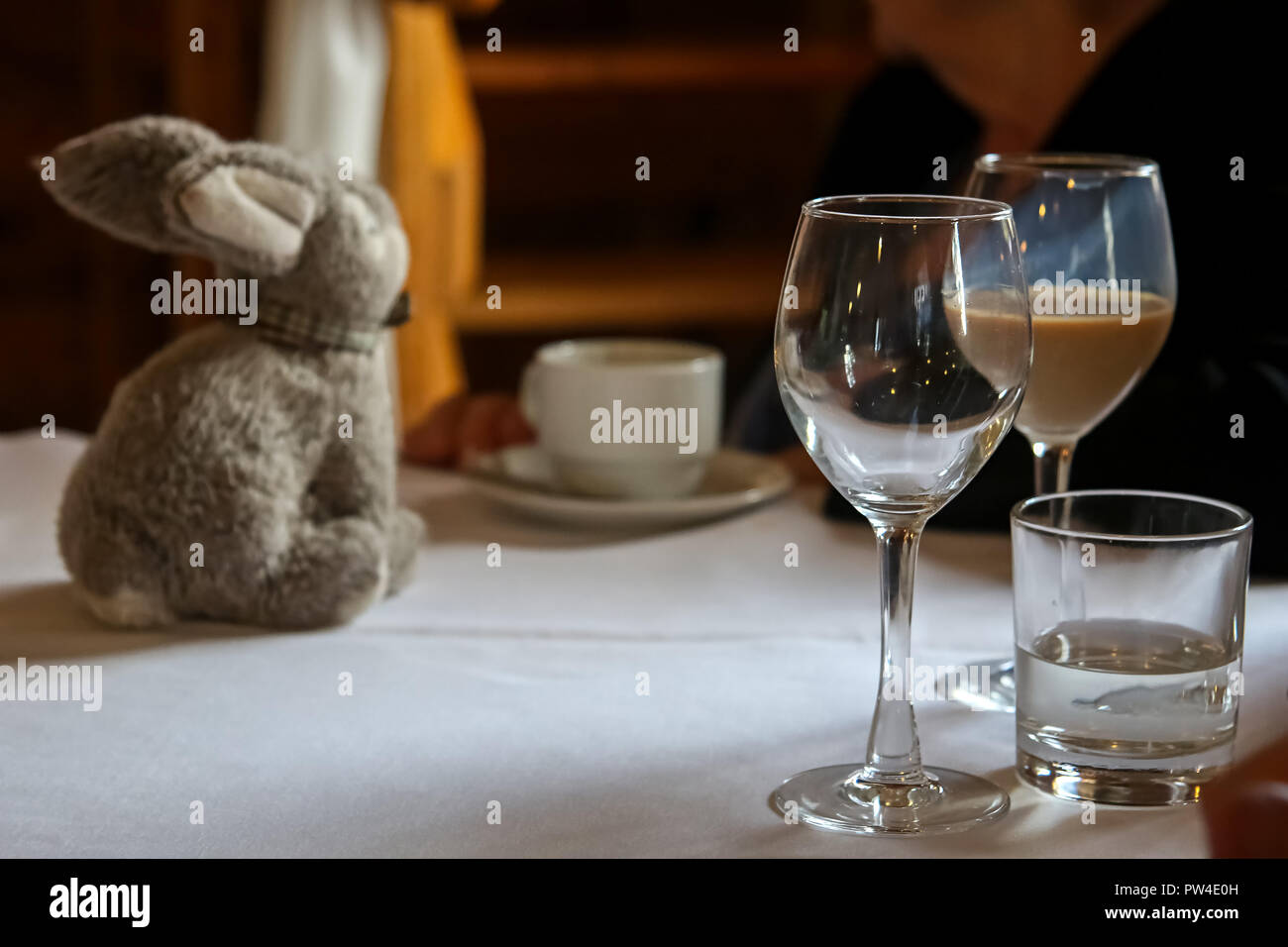 Glass with Irish creme liqueur, empty glass, glass with water, cofee cup and rabbit on the table. - Stock Image