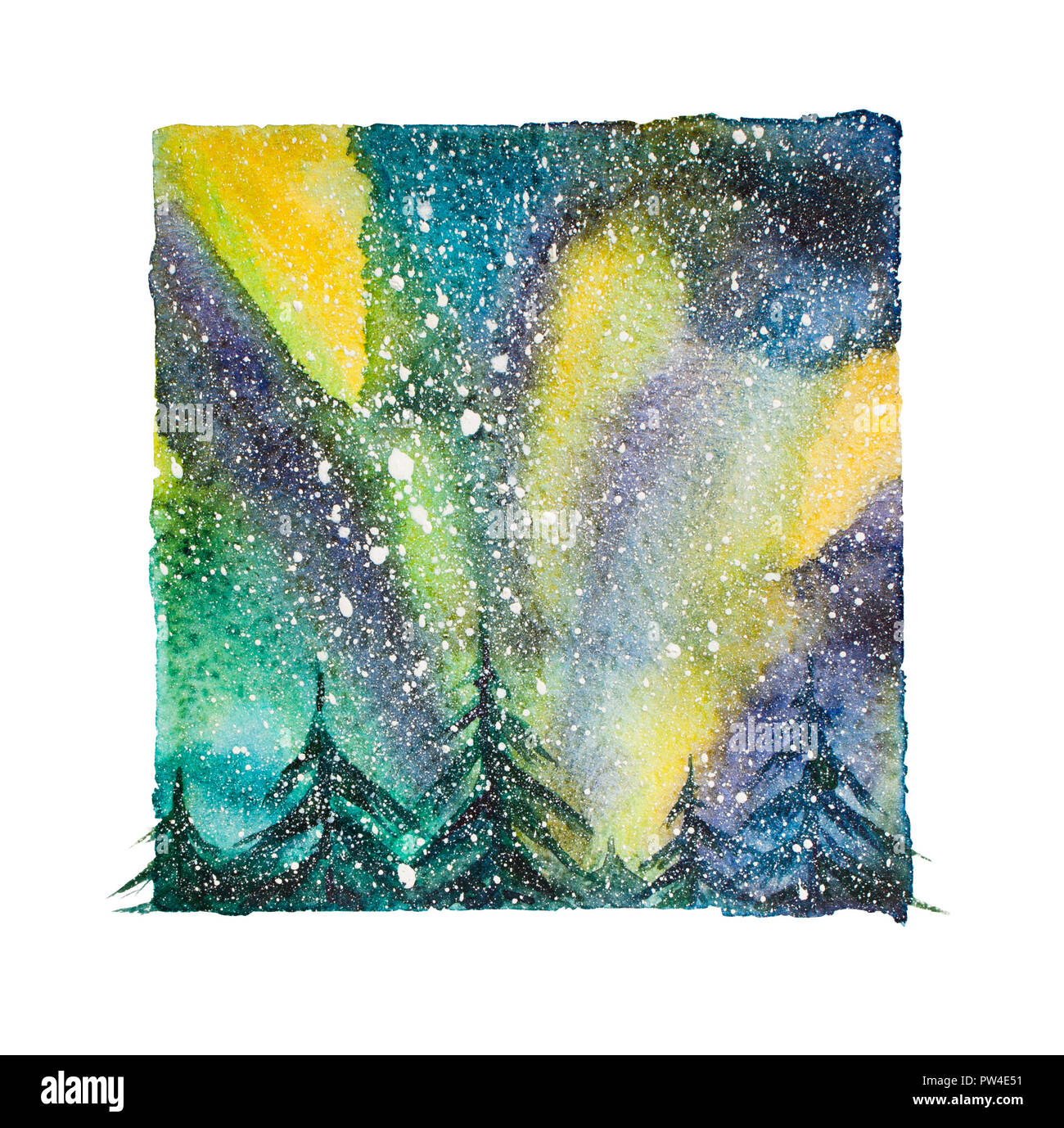 Watercolor northern lights, isolated north sky with snowflakes at night - Stock Image