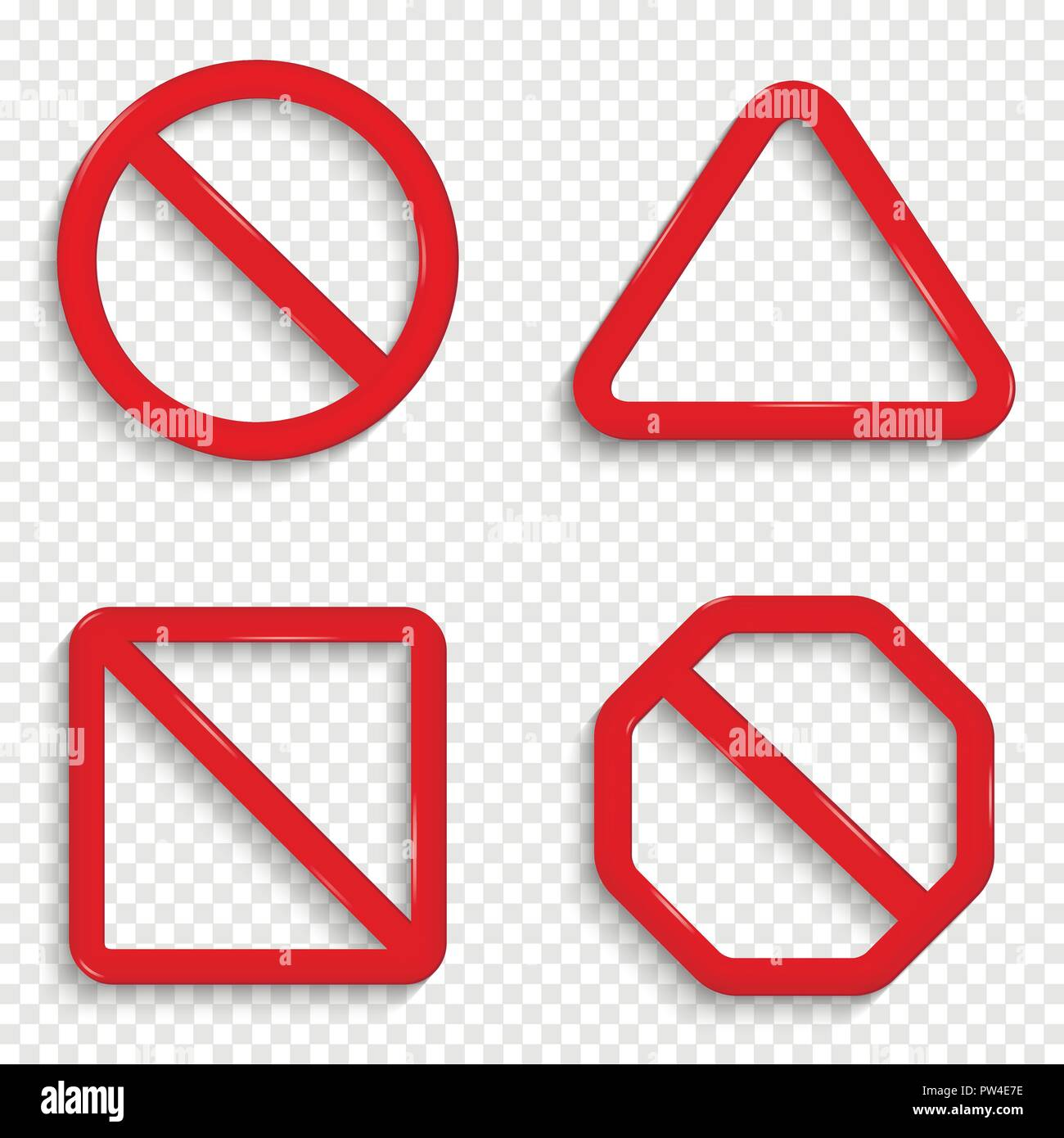 No signs. Forbidden red signs isolated on transparent background. - Stock Image