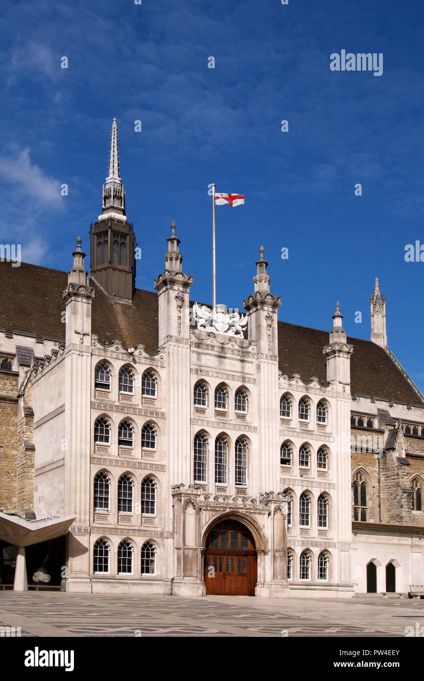 The flag of the City of London flying above the Guild Hall - Stock Image