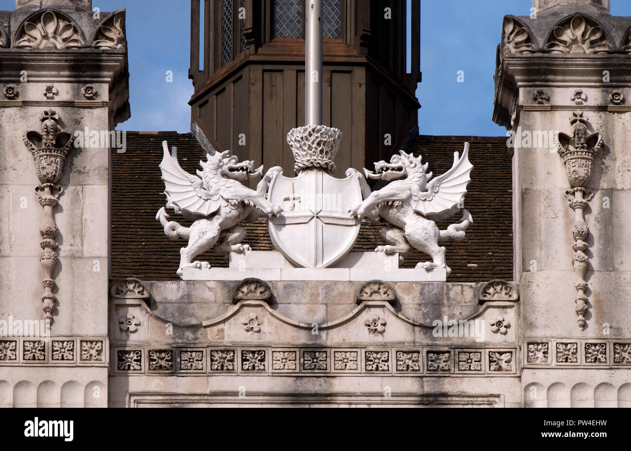 The dragon insignia on the Guild Hall in the city of london - Stock Image
