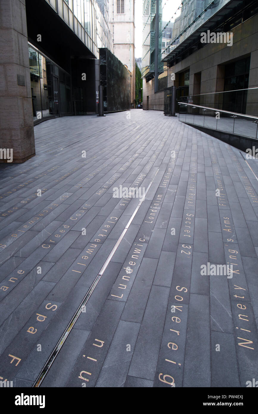 Simon Patterson's art installation of historic london place names embedded in the pavement of Plantation Lane - Stock Image