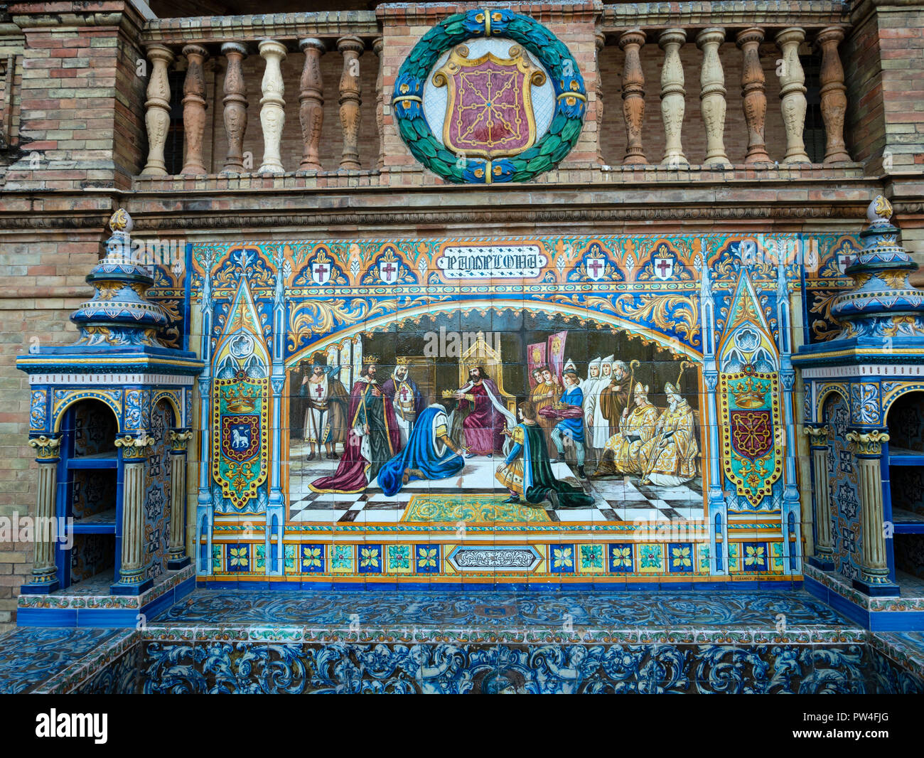 Alcoves tiled with  azulejos tiles. The Plaza de Espana, Seville, Andalusia, Spain. - Stock Image