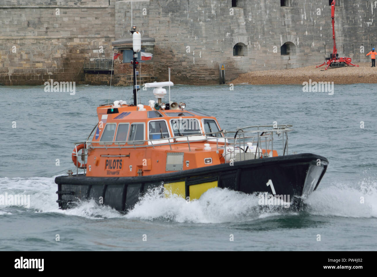 Portsmouth Harbour Pilot seen heading out in to the Solent - Stock Image
