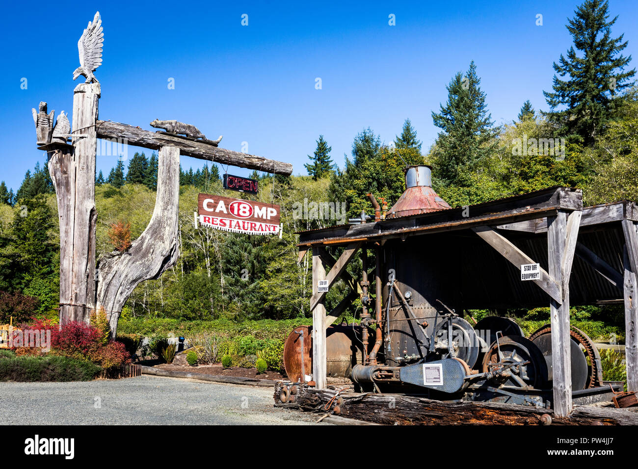 The popular Camp 18 restaurant with its lumberjack theme on Highway 26 heading to the ocean from Portland, Oregon, USA. - Stock Image