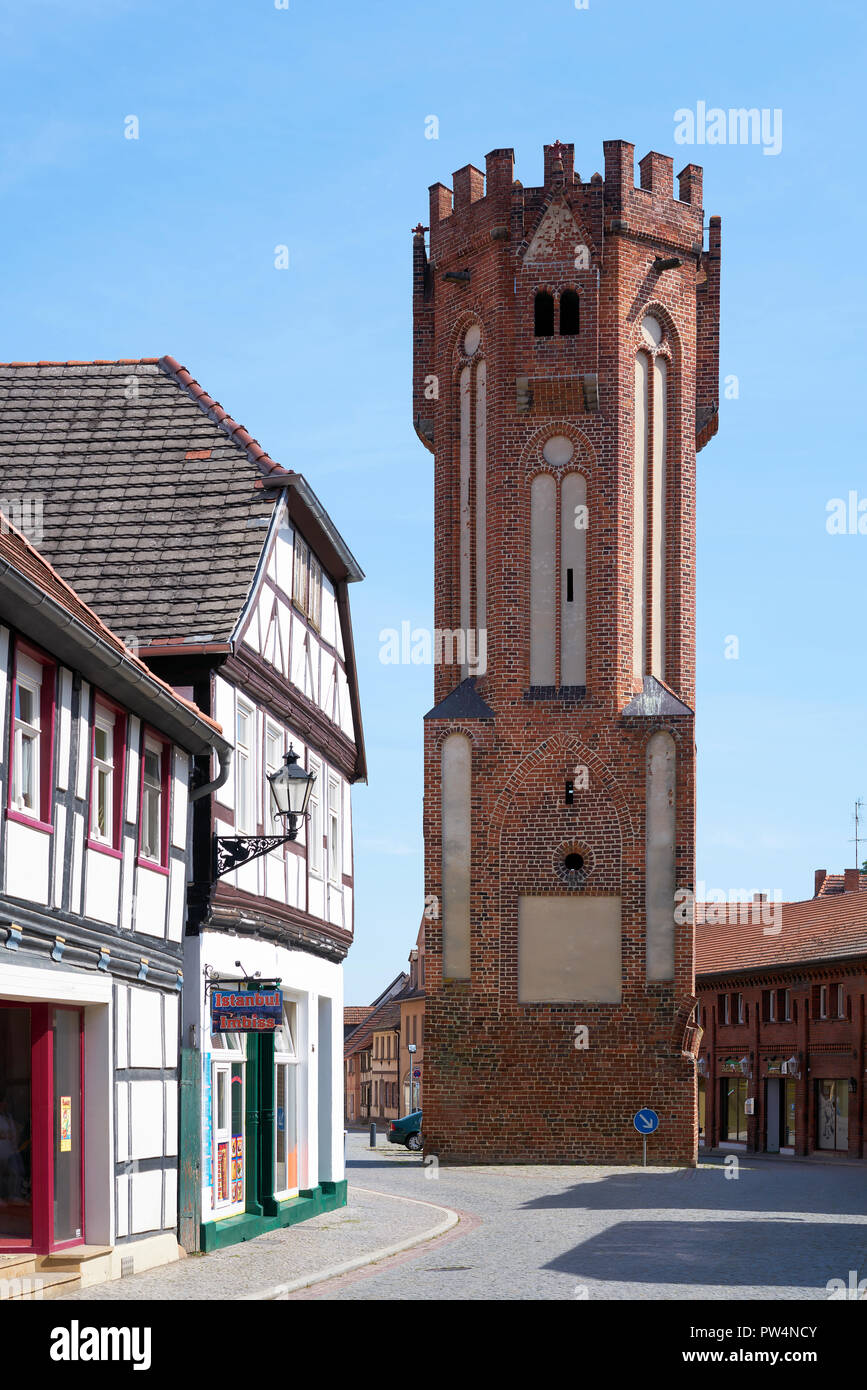 Owl tower in the old town of Tangermuende Stock Photo
