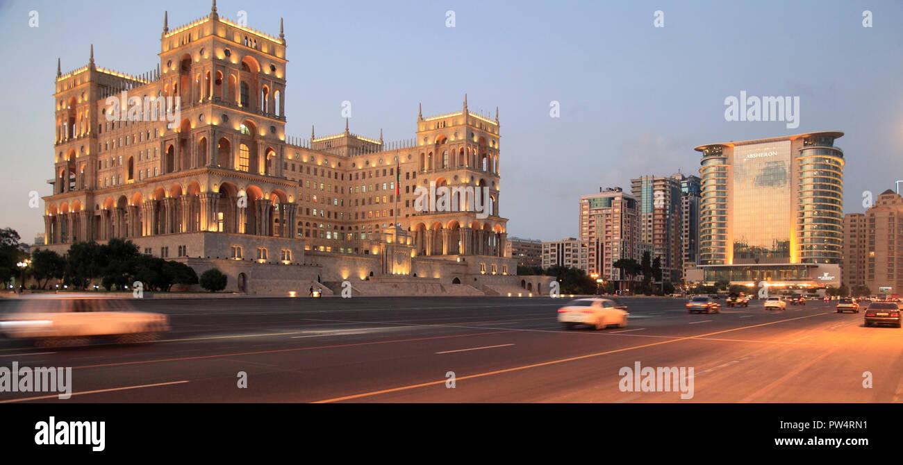 Azerbaijan, Baku, House of Government, Freedom Square, JW Marriott Absheron Hotel, Stock Photo