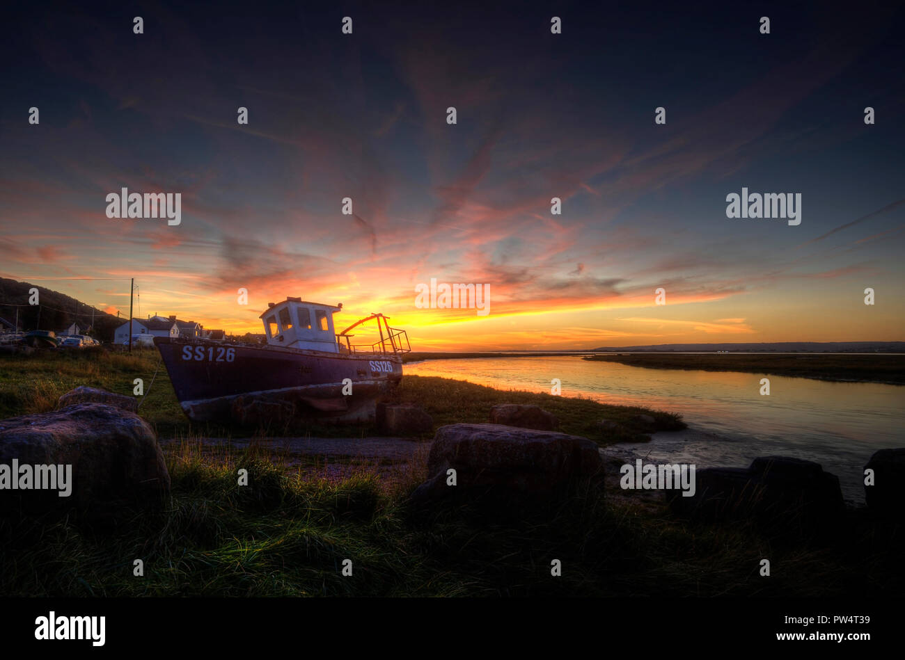 Penclawdd sunset Stock Photo