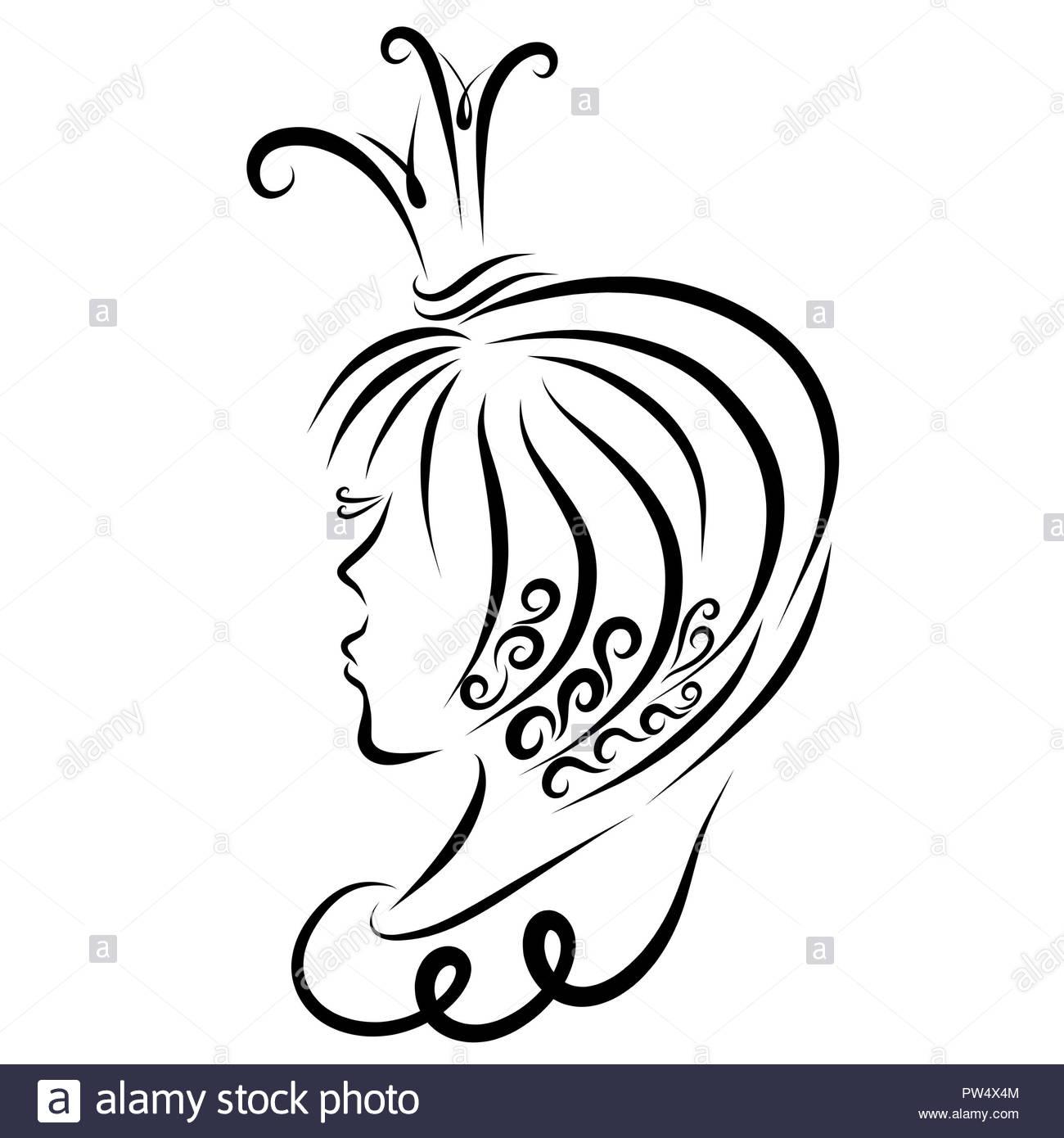 Princess with a creative haircut and long eyelashes, profile - Stock Image