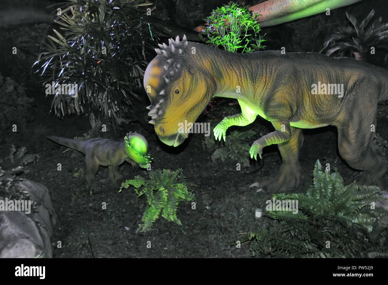 Milan (Italy), exhibition of prehistoric animals reproduced in full size; Pachycephalosaurus (Pachycephalosaurus wyomingensis) - Stock Image
