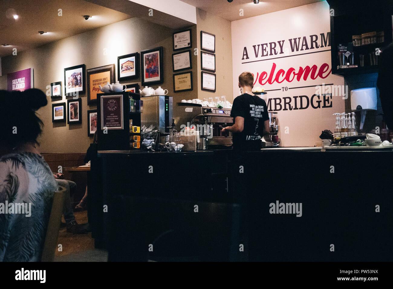 Costa Cafee in Cambride - Bartender - Stock Image