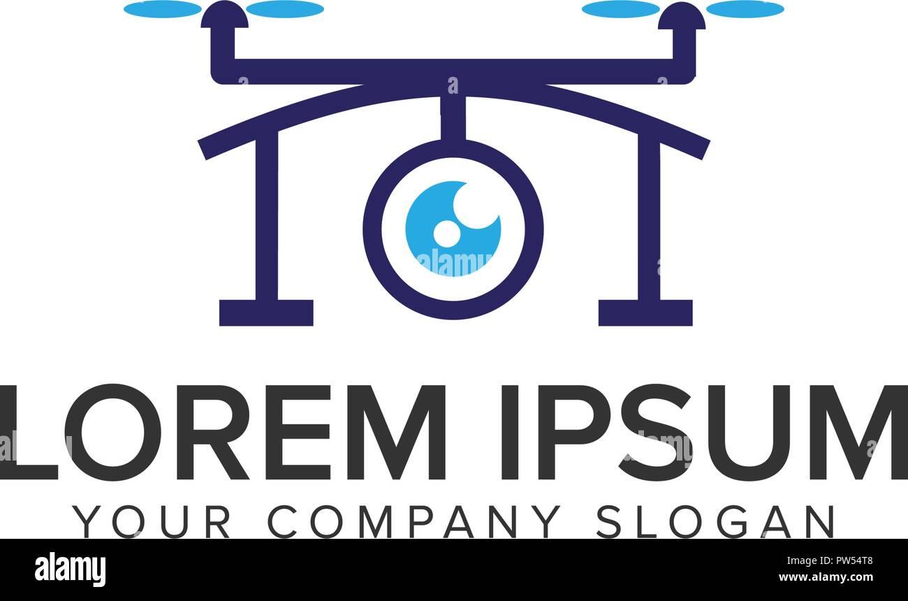 Drone logo design concept template. - Stock Image