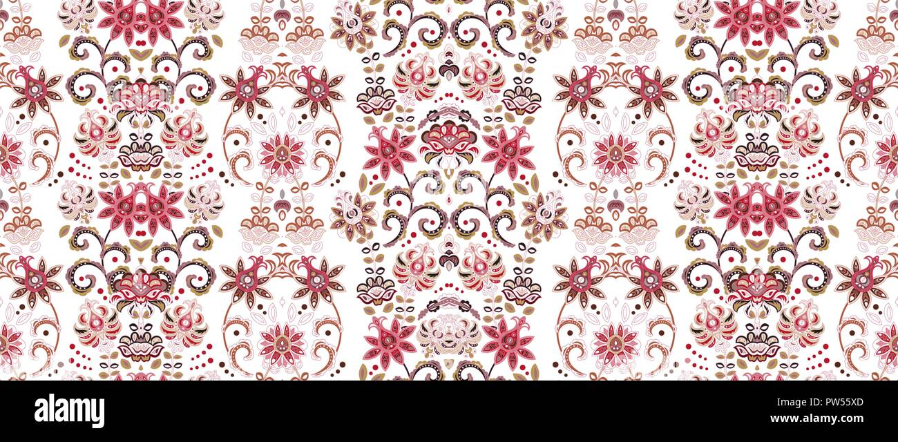 Striped Seamless Pattern Floral Wallpaper Colorful Ornamental