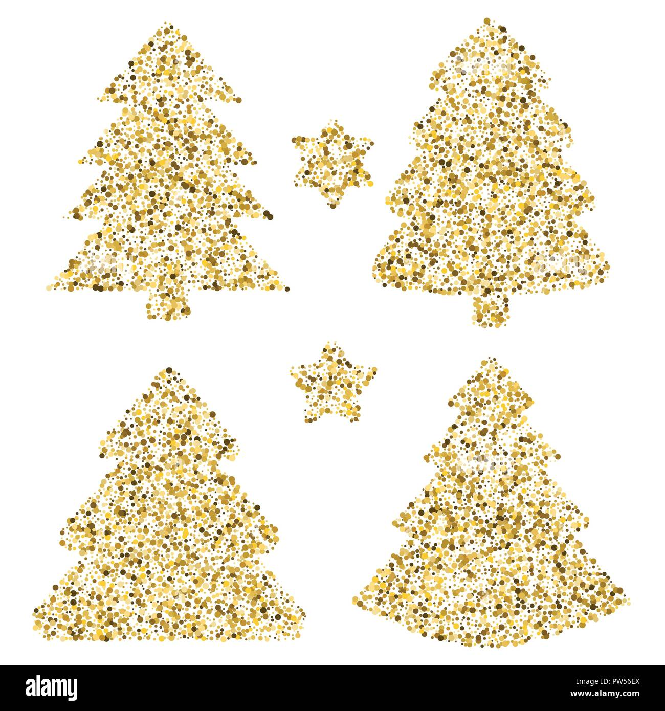 Four Christmas Trees At Greeting Card Vector Art With Dots