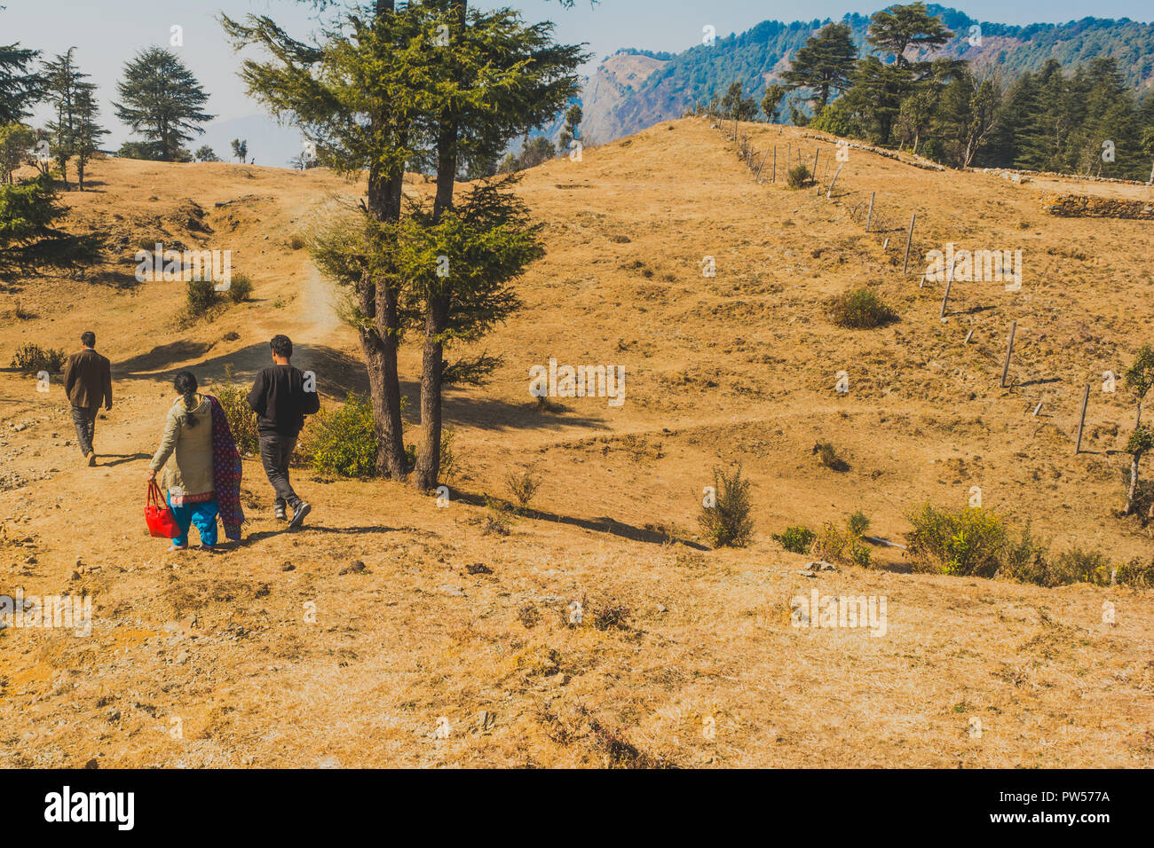 Picture of an indian family taking a stroll at a hilltop among trees - Stock Image