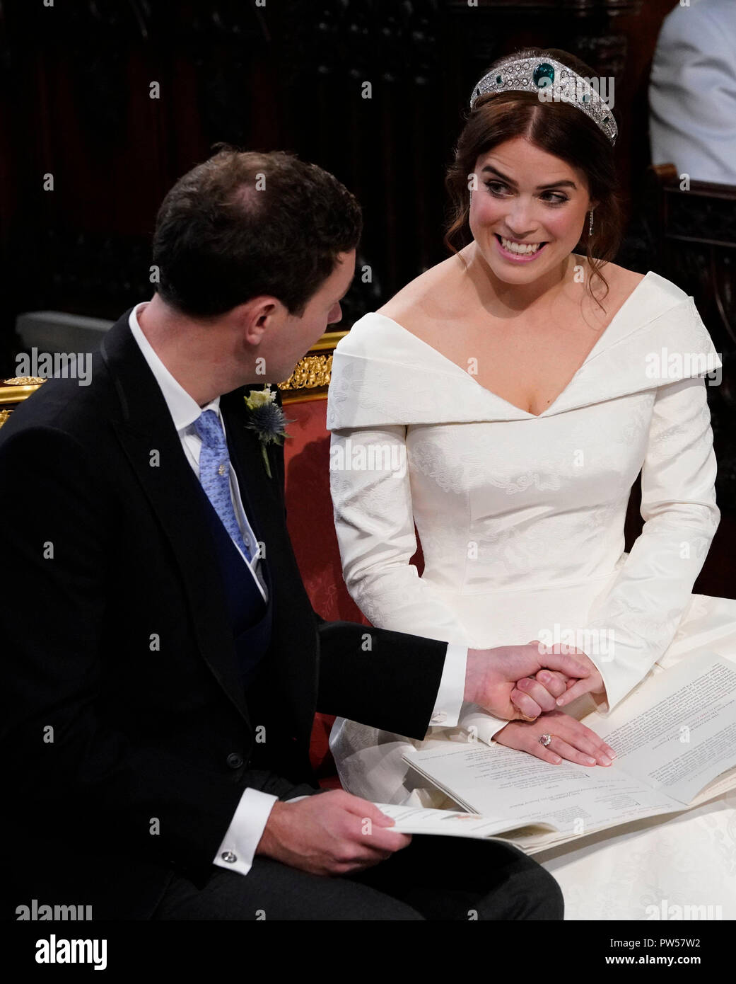 Princess Eugenie And Her Husband Jack Brooksbank During Their Wedding Ceremony At St George S Chapel In Windsor Castle Stock Photo Alamy