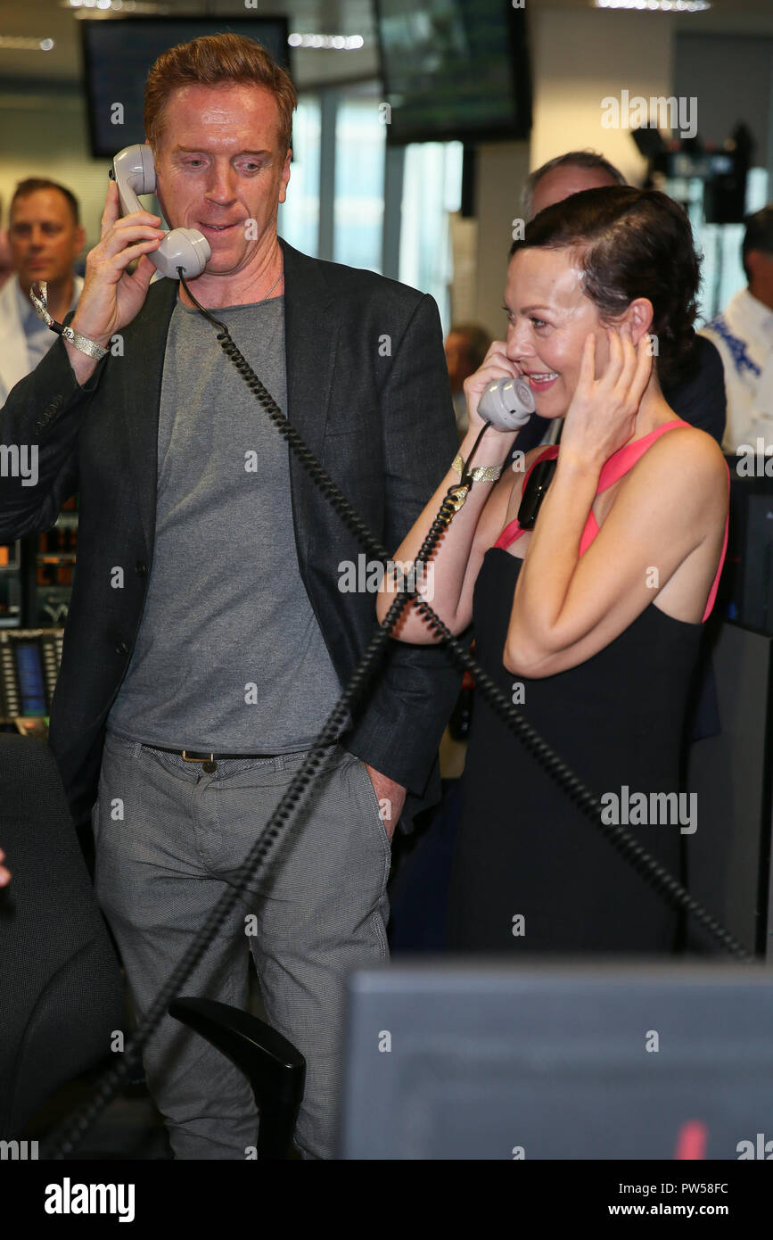 Damian Lewis and Helen McCrory taking part in the BGC Annual Global Charity Day 2018 - London  Featuring: Damian Lewis, Helen McCrory Where: London, United Kingdom When: 11 Sep 2018 Credit: WENN.com - Stock Image
