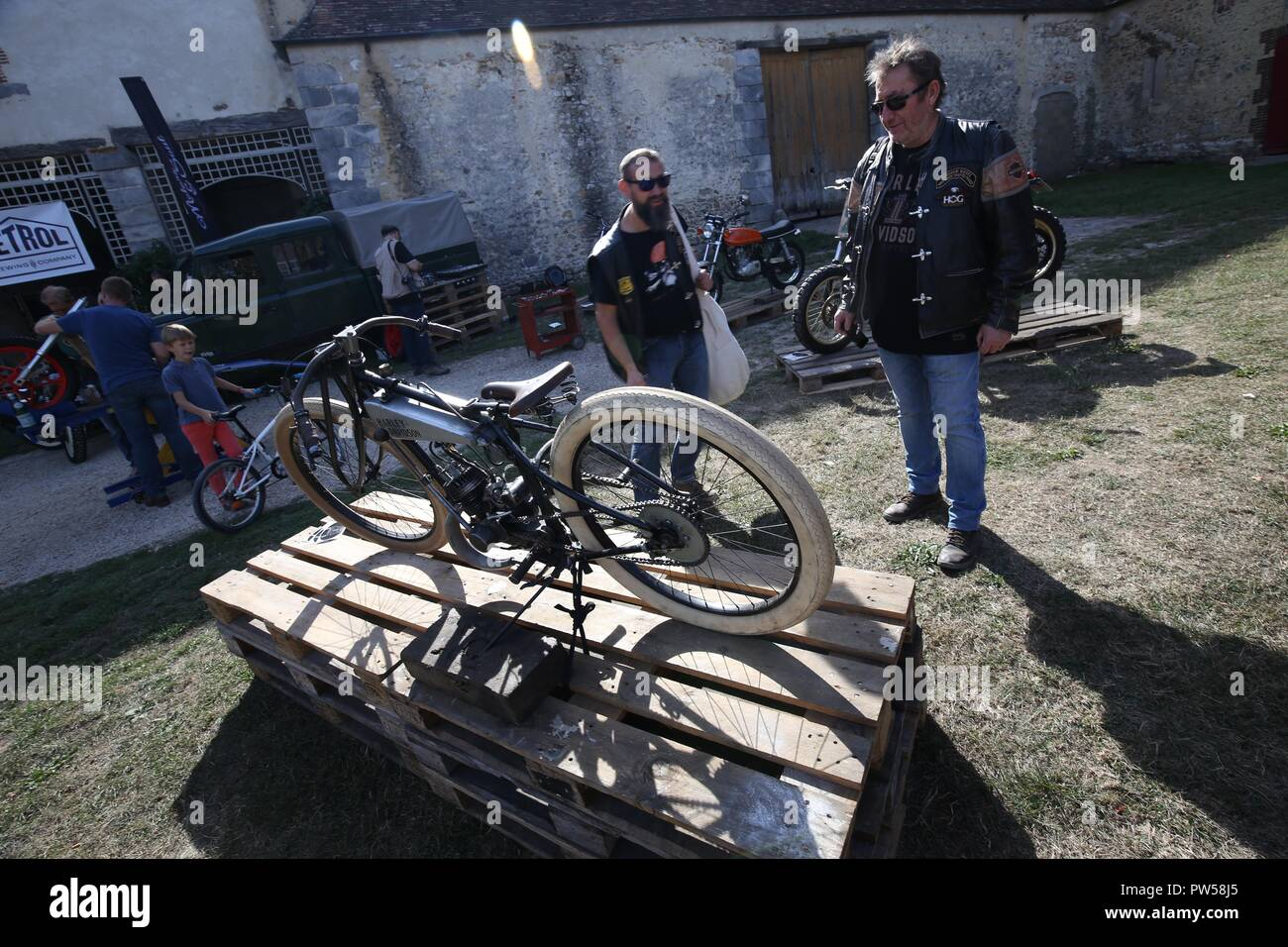 Hand Crafted Harley Davidson Board Racer at Château de Neuville in Gambais (78) – France. - Stock Image