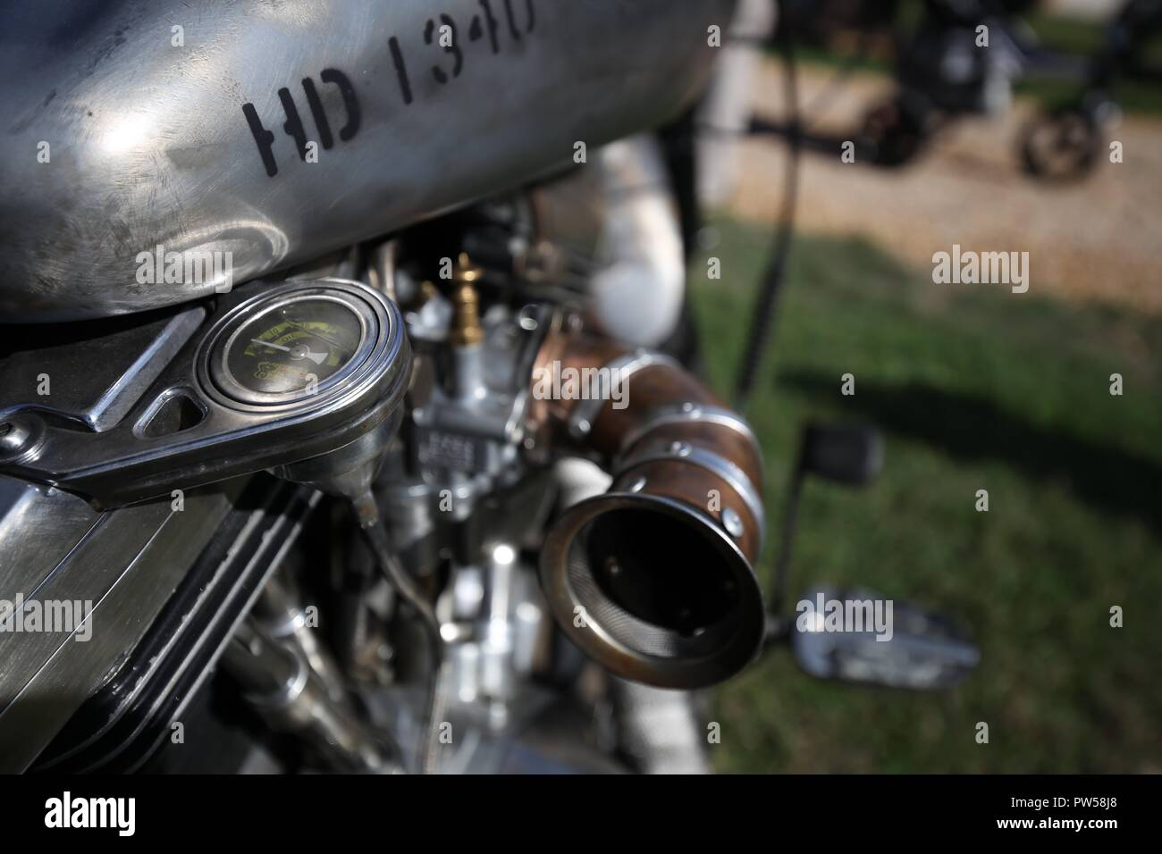 Hand crafted Harley Davidson at Château de Neuville in Gambais (78) – France. - Stock Image