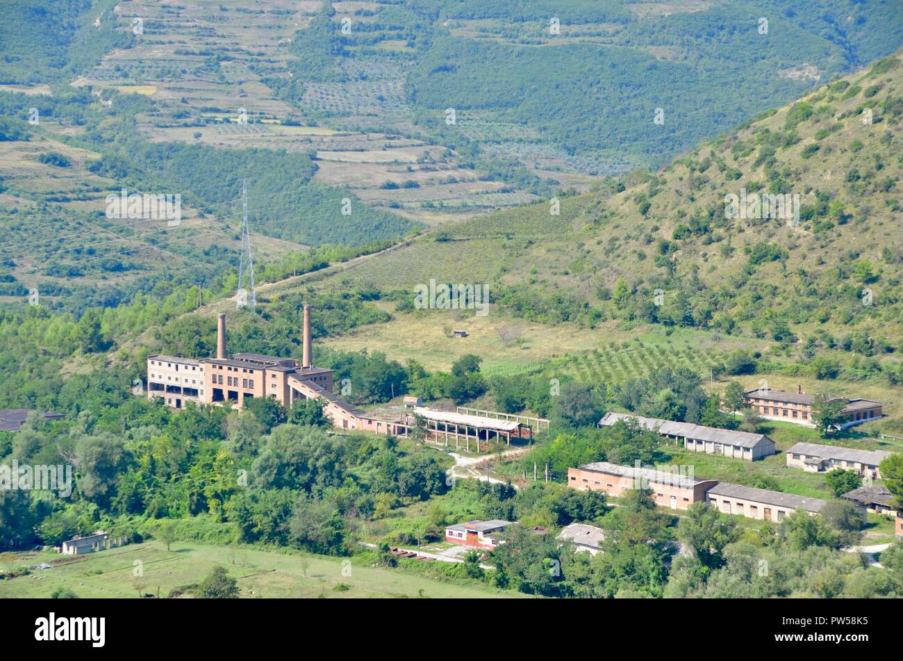 the disused armaments arms and gun factory complex at polican albania, once secret and unapproachable - Stock Image