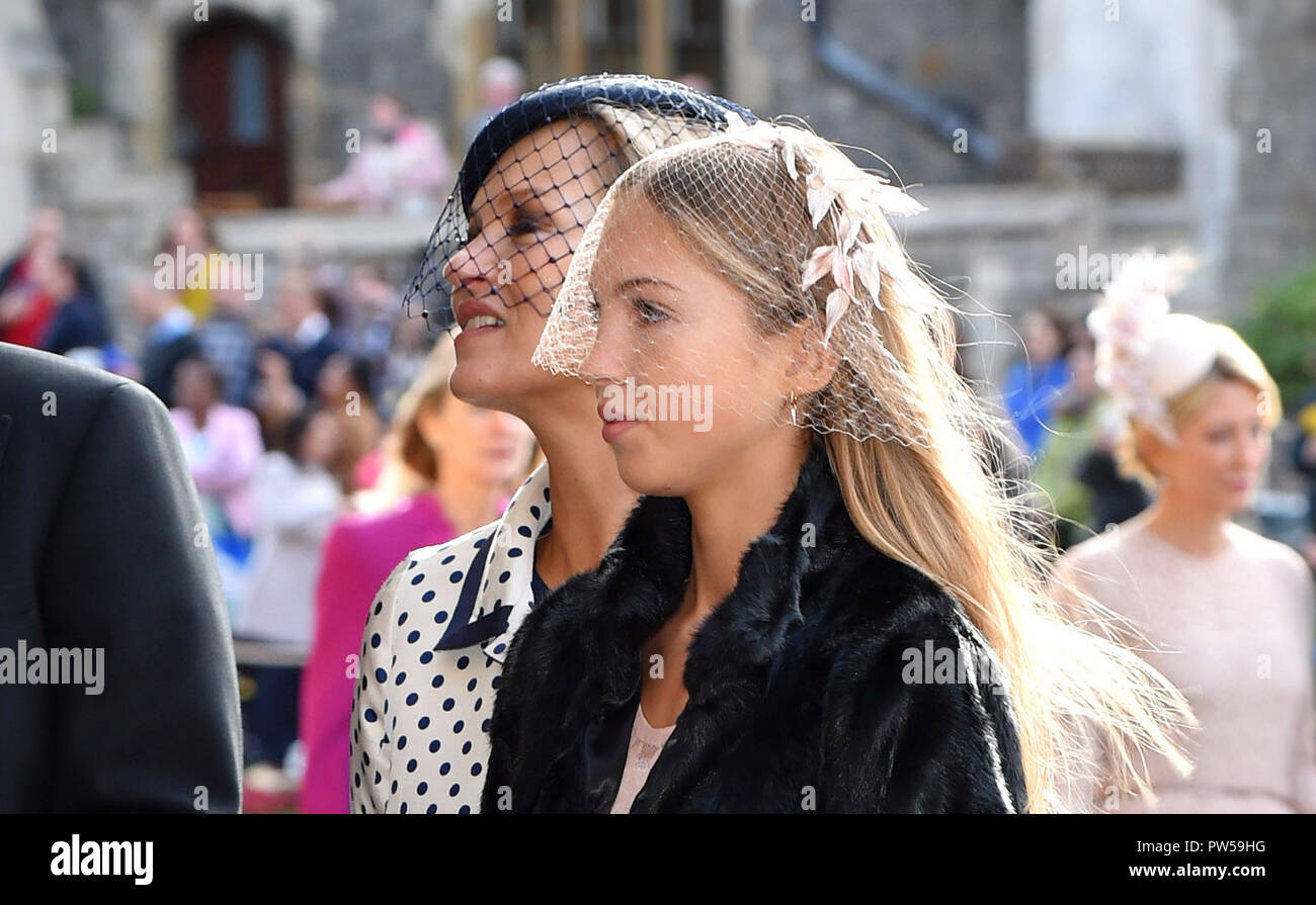 Kate Moss and Lila Grace Moss for the wedding of Princess Eugenie to Jack Brooksbank at St George's Chapel in Windsor Castle - Stock Image