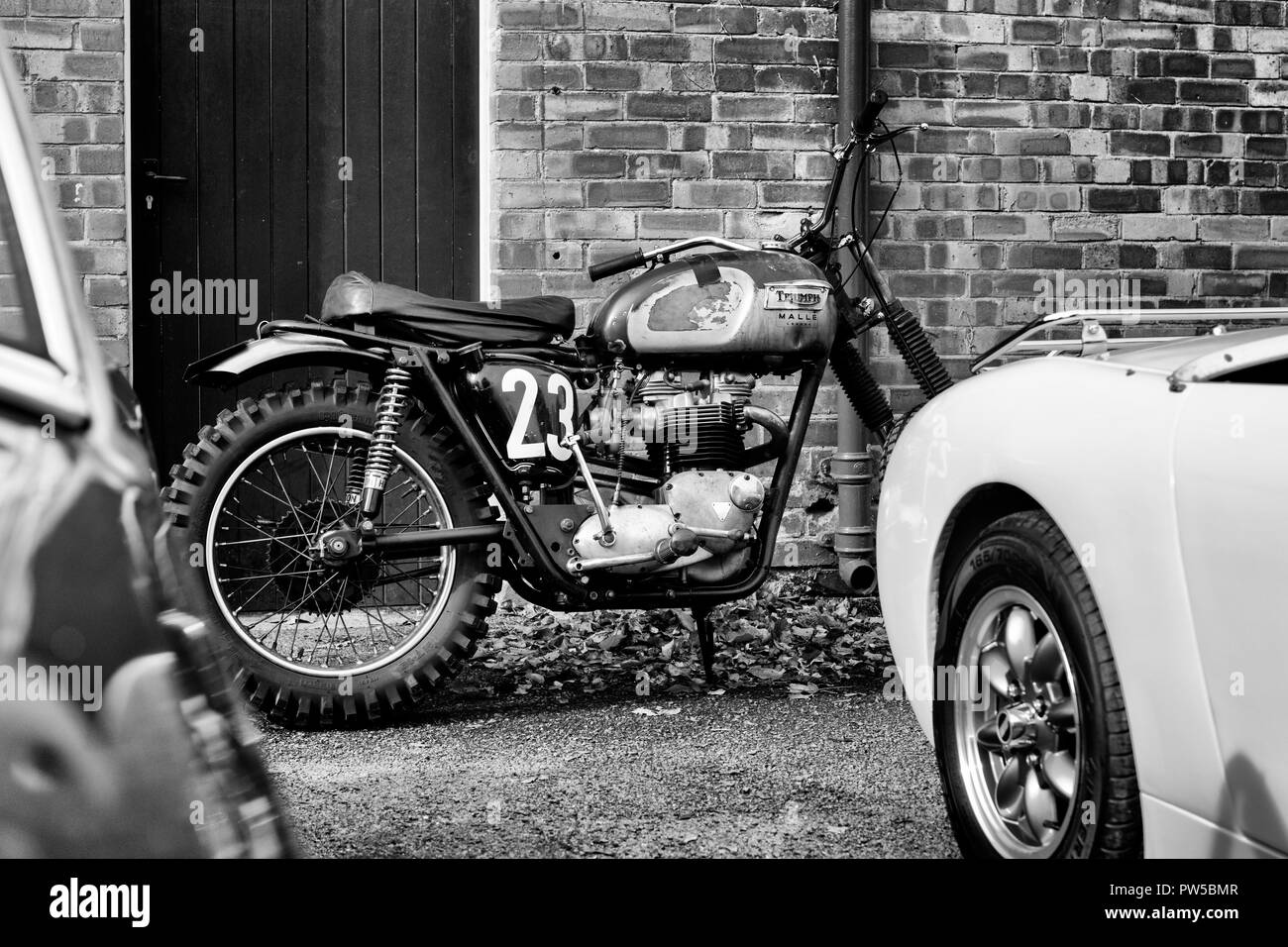 Triumph motorcycle at the autumn sunday scramble event at bicester heritage centre oxfordshire england black and white