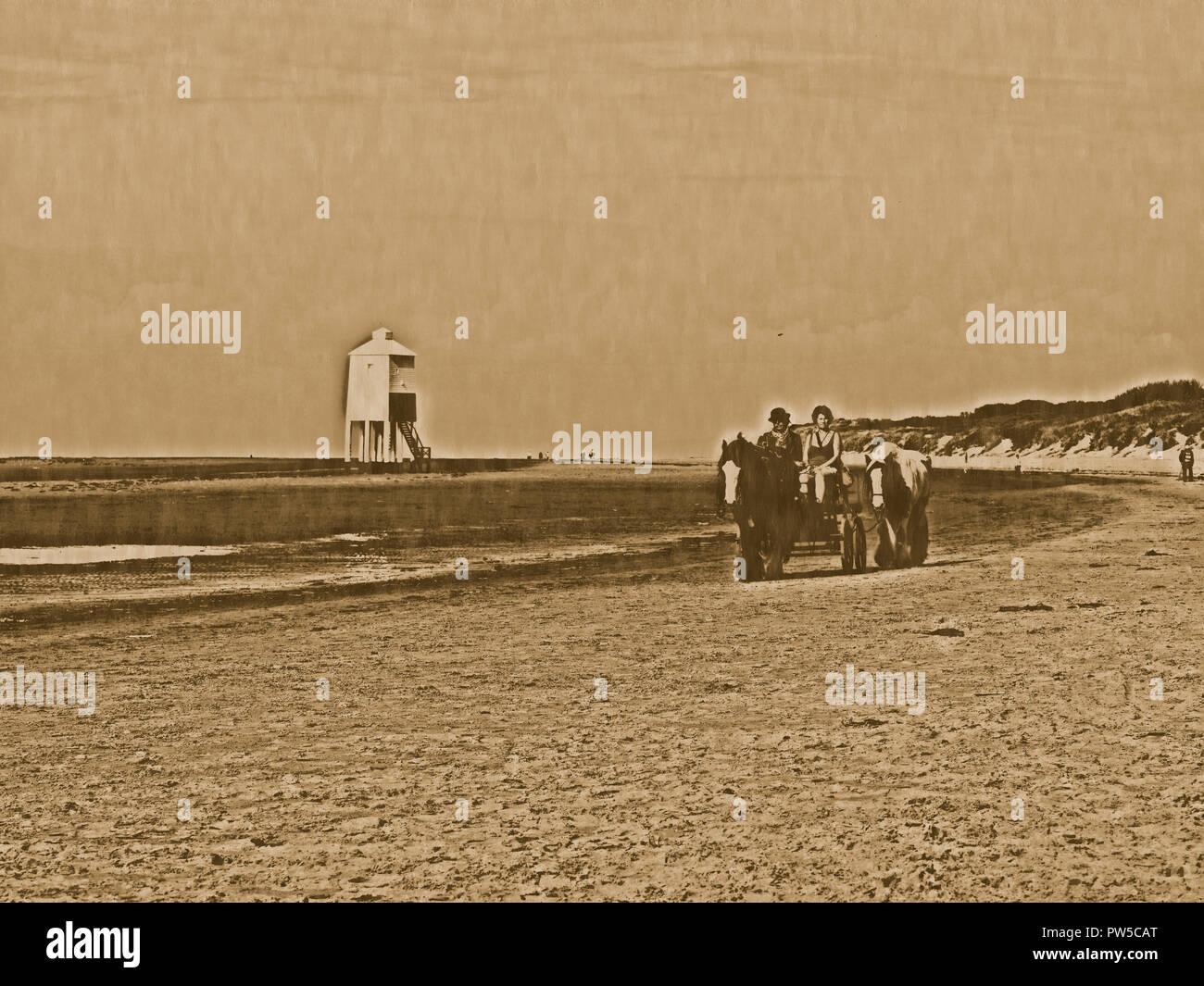 Horse-drawn Cart on Burnham on Sea beach, Bristol Channel - Stock Image