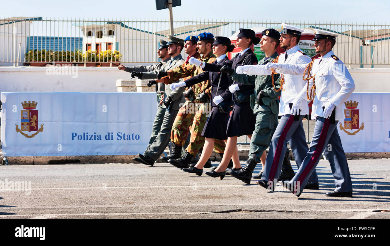 Rome,Italy - September 30, 2018:The Italian State Police parades with  uniforms on the Roman promenade for the 50th anniversary of the foundation - Stock Image
