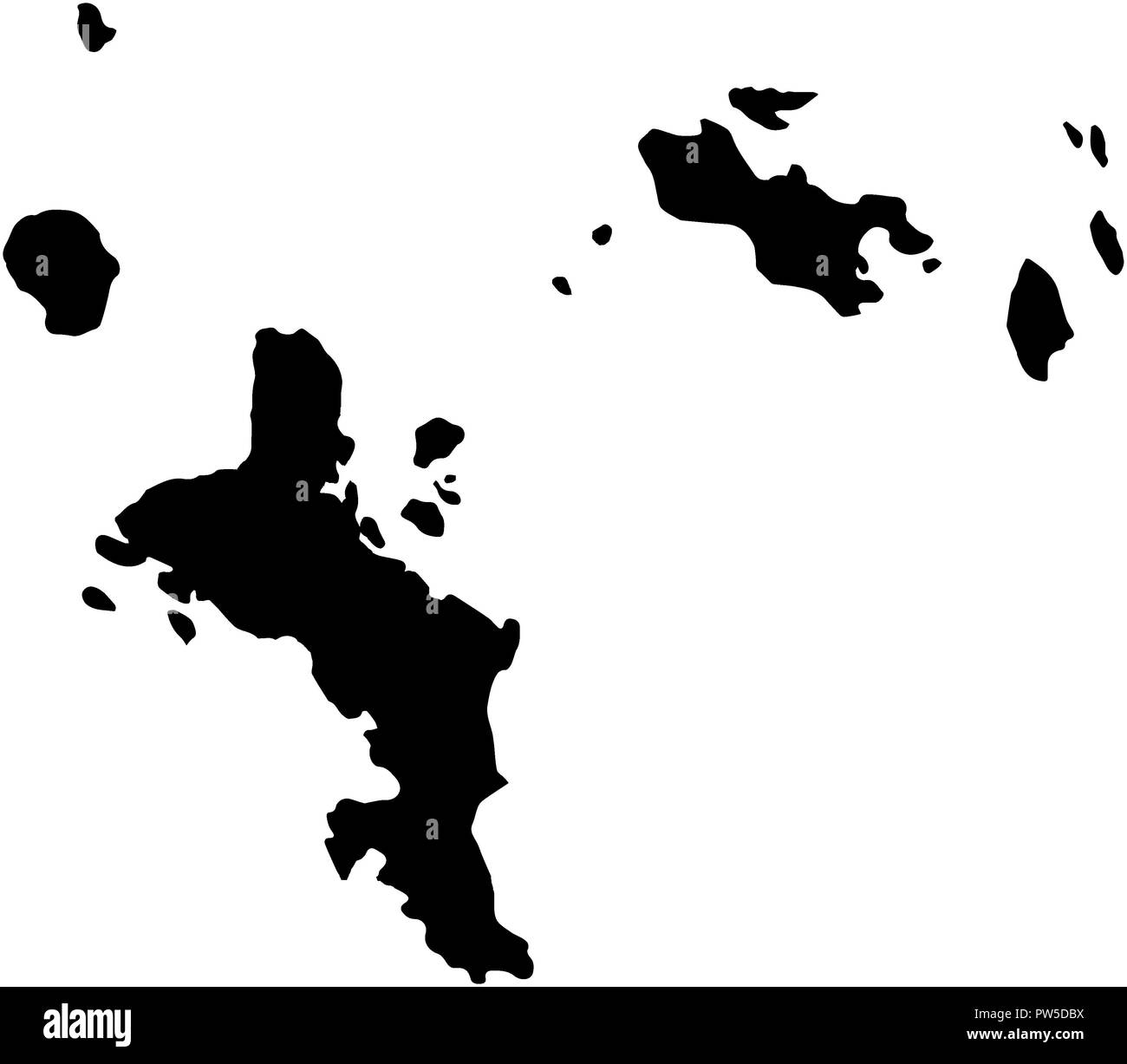 Seychelles islands country Map illustration black isolated - Stock Image