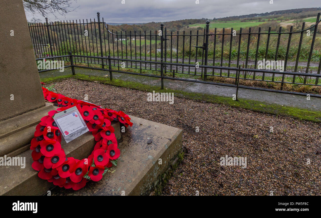 Poppy wreaths have been laid at the base of Tong Park war Memorial in Baildon, Yorkshire. - Stock Image
