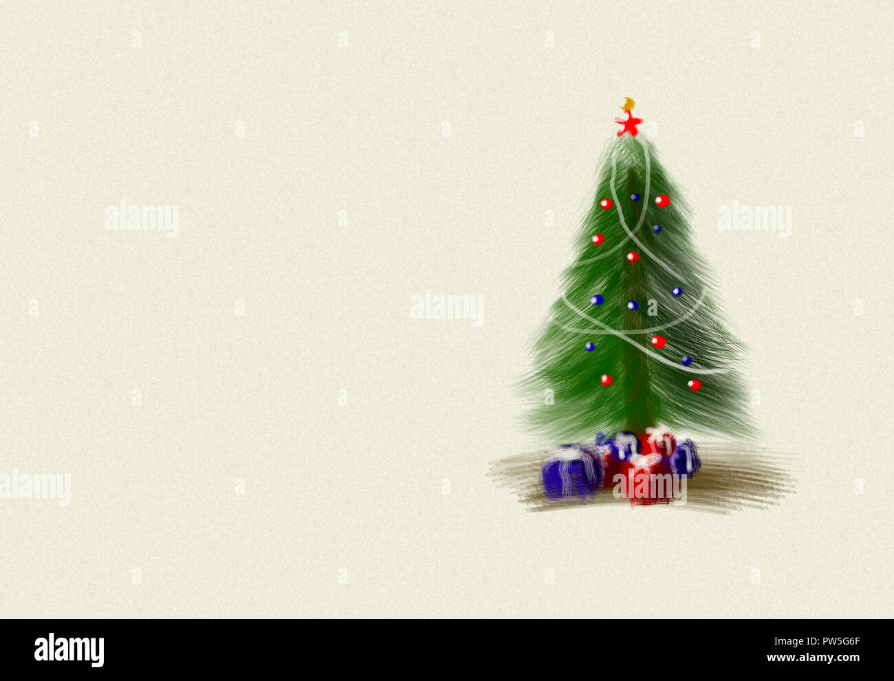 Christmas tree drawing with presents and ornamentals. - Stock Image